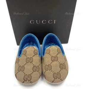 Authentic Gucci Brown Monogram Baby Shoes Newborn
